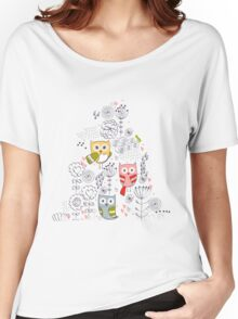 Cute owl and flowers  Women's Relaxed Fit T-Shirt