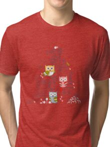 Cute owl and flowers  Tri-blend T-Shirt