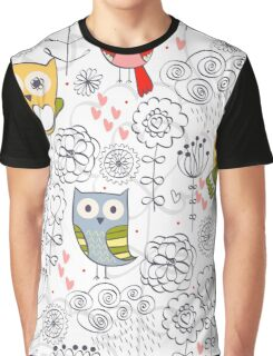Cute owl and flowers  Graphic T-Shirt