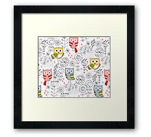 Cute owl and flowers  Framed Print