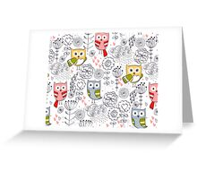 Cute owl and flowers  Greeting Card