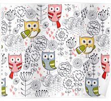 Cute owl and flowers  Poster