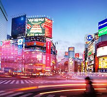 Intersection Shibuya Tokyo colorful lights art photo print by ArtNudePhotos