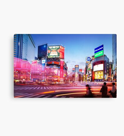 Intersection Shibuya Tokyo colorful lights art photo print Canvas Print