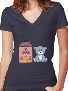 Cute bear and flowers  Women's Fitted V-Neck T-Shirt