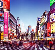People crossing street in Shibuya Tokyo art photo print by ArtNudePhotos