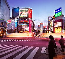 Brightly lit intersection of Shibuya Tokyo art photo print by ArtNudePhotos