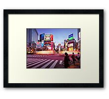 Brightly lit intersection of Shibuya Tokyo art photo print Framed Print