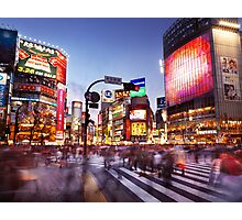 People on busy interesection Shibuya station Tokyo Japan art photo print Photographic Print