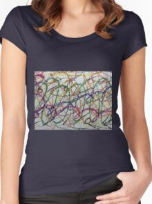 Colorful Oil Pastel Scribbles Women's Fitted Scoop T-Shirt