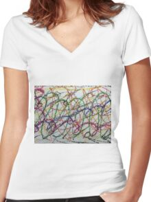 Colorful Oil Pastel Scribbles Women's Fitted V-Neck T-Shirt