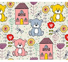 Cute bear and flowers  Photographic Print