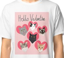 Cats valentines day cute gift for cat lady funny kitten hearts lovely pets Classic T-Shirt