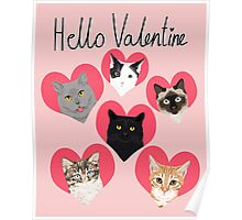 Cats valentines day cute gift for cat lady funny kitten hearts lovely pets Poster