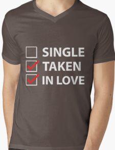 TAKEN IN LOVE CHECK Mens V-Neck T-Shirt