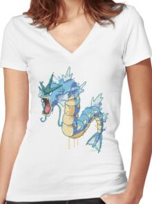 Gyarados Women's Fitted V-Neck T-Shirt