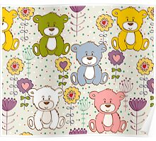 Cute bear and flowers 2  Poster