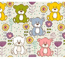 Cute bear and flowers 2  Photographic Print