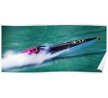 Power boat racing at folkstone Poster