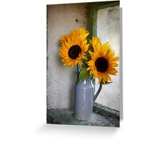 Sunflowers in a stone jar on a farmhouse window Greeting Card