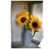Sunflowers in a stone jar on a farmhouse window Poster