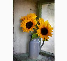 Sunflowers in a stone jar on a farmhouse window Unisex T-Shirt