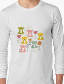 Cute bear and flowers 3  Long Sleeve T-Shirt