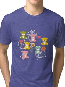 Cute bear and flowers 3  Tri-blend T-Shirt