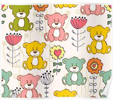 Cute bear and flowers 3  Poster
