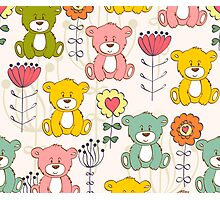 Cute bear and flowers 3  Photographic Print