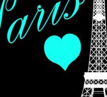 Teal & Black Eiffel Tower Paris France Sticker