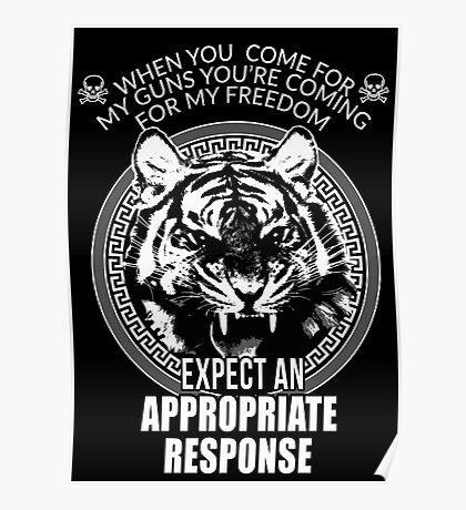 Angry Tiger When you come for my Guns T-shirt Stickers Case Freedom Poster