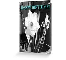 Birthday Card- Black and white daffodil  Greeting Card