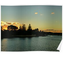 Autumn River Sunset Poster