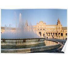 Plaza de Espana and its fountain - Seville Poster