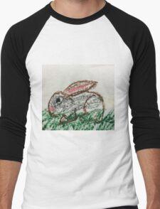 Little Bunny in Oil Pastels Men's Baseball ¾ T-Shirt