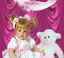 DOLL AND LAMB WITH A FEATHERS TOUCH-THROW PILLOW by ╰⊰✿ℒᵒᶹᵉ Bonita✿⊱╮ Lalonde✿⊱╮