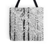 Snowy trees in winter Tote Bag