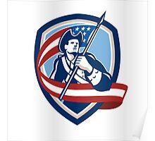American Patriot Soldier Waving Flag Shield Poster