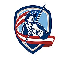 American Patriot Soldier Waving Flag Shield Photographic Print