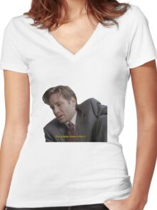 Fox Mulder [paranoia intensifies] Women's Fitted V-Neck T-Shirt
