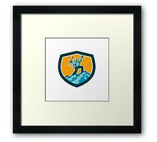 Mountain Climber Reaching Summit Retro Shield Framed Print