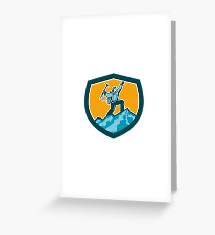 Mountain Climber Reaching Summit Retro Shield Greeting Card