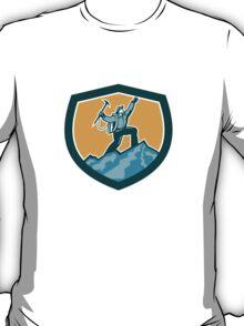 Mountain Climber Reaching Summit Retro Shield T-Shirt