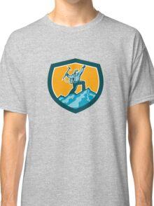 Mountain Climber Reaching Summit Retro Shield Classic T-Shirt