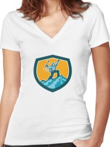 Mountain Climber Reaching Summit Retro Shield Women's Fitted V-Neck T-Shirt