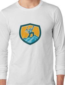 Mountain Climber Reaching Summit Retro Shield Long Sleeve T-Shirt