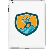 Mountain Climber Reaching Summit Retro Shield iPad Case/Skin