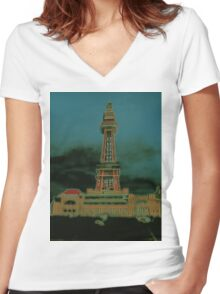 Tower. Women's Fitted V-Neck T-Shirt
