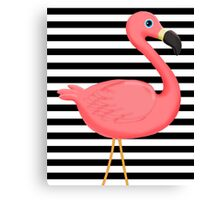Pink Flamingo Black and White Stripes Canvas Print
